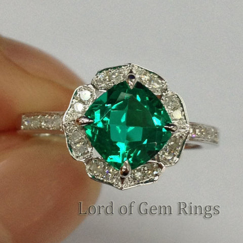 Cushion Emerald Engagement Ring Pave Diamond Wedding 14K White Gold 7mm  Vintage Floral Design HALO - Lord of Gem Rings - 1