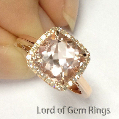 Ready to Ship - Cushion Morganite Engagement Ring Pave Diamond Halo 14K Rose Gold 8mm - Lord of Gem Rings - 1