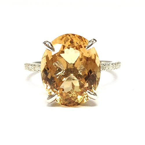 Oval Orange Citrine Engagement Ring Pave Diamond Wedding 14K White Gold,10x12mm - Lord of Gem Rings - 1
