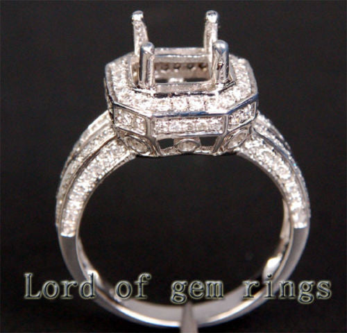 Diamond Engagement Semi Mount Ring 14K White Gold Setting Princess 6x6mm - Lord of Gem Rings - 1