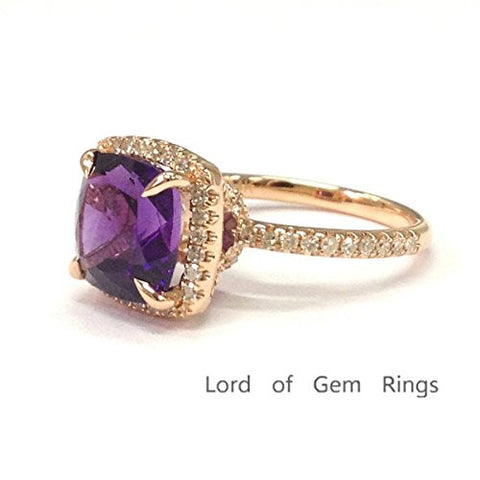 Cushion Purple Amethyst Engagement Ring Pave Diamond Wedding 14K Rose Gold,8mm - Lord of Gem Rings - 1