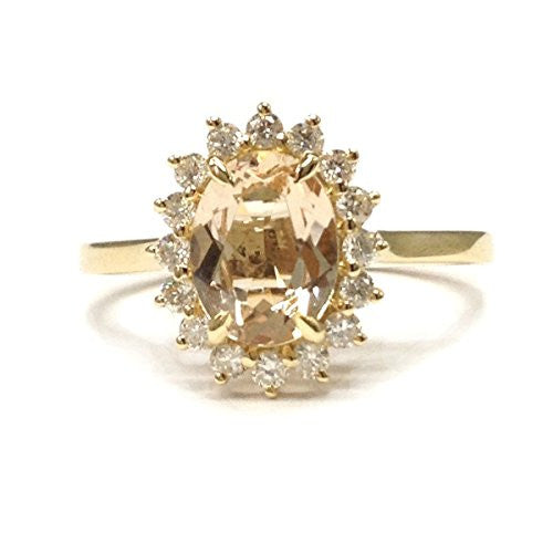Oval Morganite Engagement Ring Moissanite Wedding 14K Yellow Gold,6x8mm,Floral Unique - Lord of Gem Rings - 1