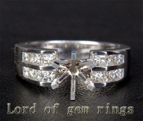 VS/H Princess Diamond Engagement Semi Mount Ring 14K White Gold Setting Round 6.3-6.7mm - Lord of Gem Rings - 1