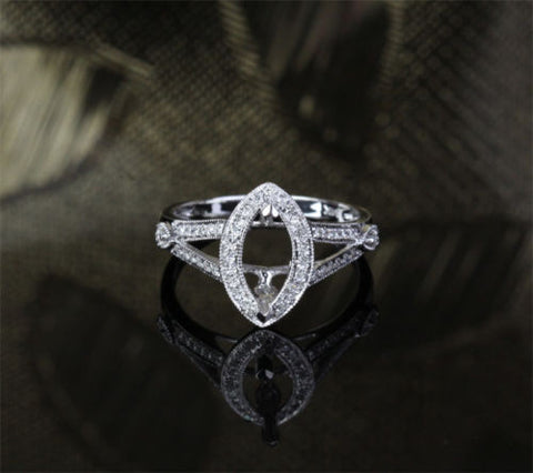 Diamond Engagement Semi Mount Ring 14K White Gold Setting Marquise 8x10mm - Lord of Gem Rings - 1