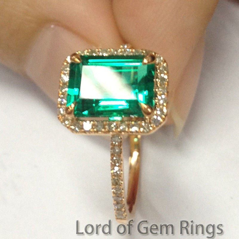 $419 Emerald Cut Emerald Engagement Ring Pave Diamond Wedding 14K