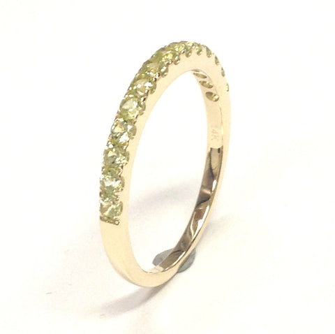 Peridot Wedding Band Half Eternity Anniversary Ring 14K Yellow Gold 2mm Round - Lord of Gem Rings - 1