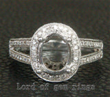 Diamond Engagement Semi Mount Ring 14K White Gold Oval 7x9mm Halo Milgrain - Lord of Gem Rings - 1