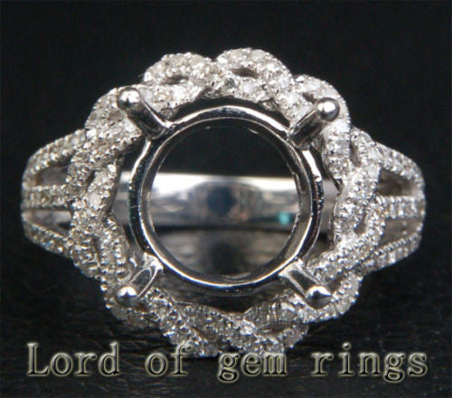 Flower 10mm Round Cut 14K White Gold .49ctw Diamonds Semi Mount Engagement Ring - Lord of Gem Rings - 1