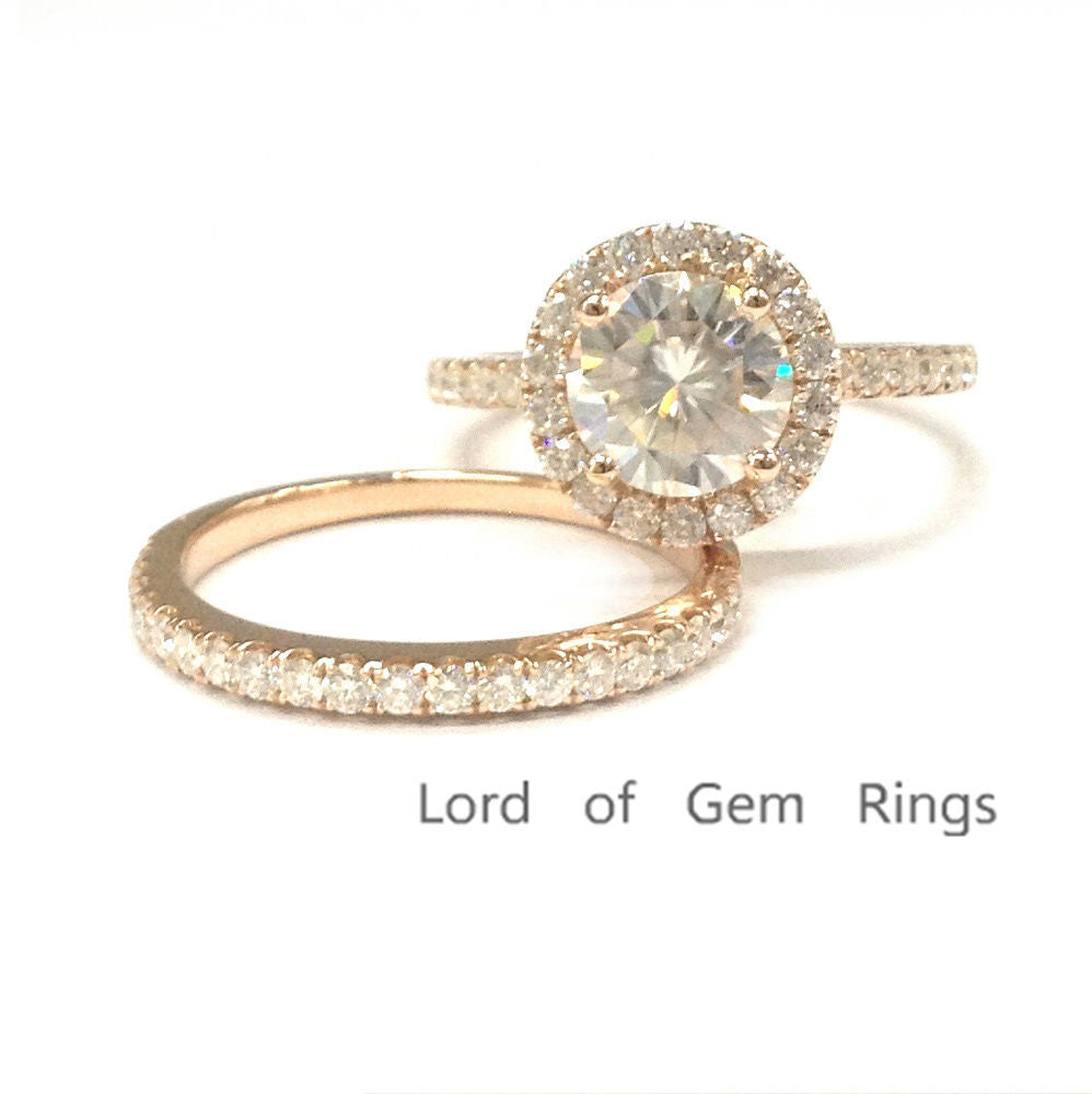 Round Moissanite Engagement Ring Sets Pave Moissanite Wedding 14K Rose Gold 7mm - Lord of Gem Rings - 1