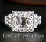 Unique 5mm Round Cut 14K White Gold Pave .31CT Diamonds Engagement Ring Setting - Lord of Gem Rings - 2