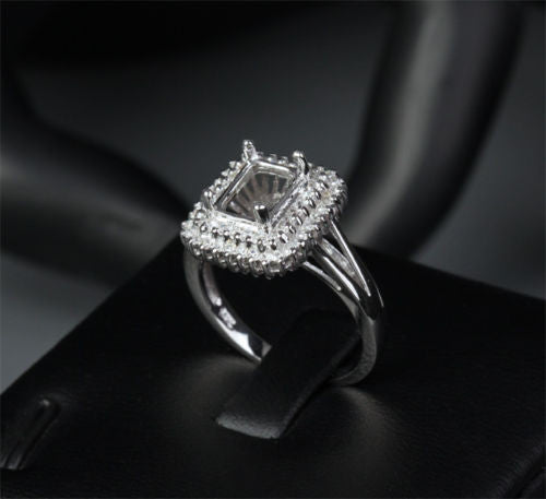 Diamond Engagement Semi Mount Ring 14K White Gold Setting Emerald Cut 6x8mm - Lord of Gem Rings - 1