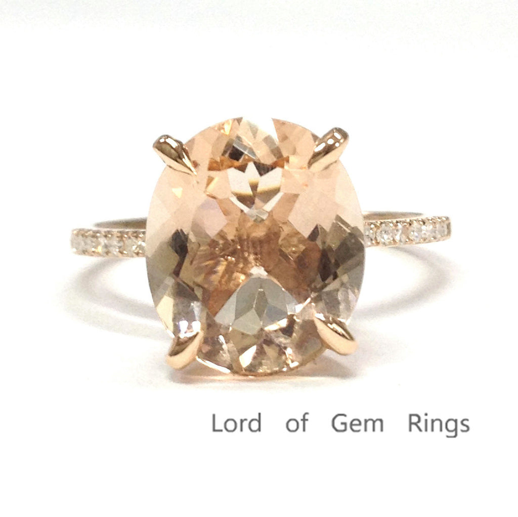 Ready to Ship: Oval Morganite Engagement Ring Pave Diamond Wedding 14K Rose Gold 10x12mm Claw Prongs - Lord of Gem Rings - 1