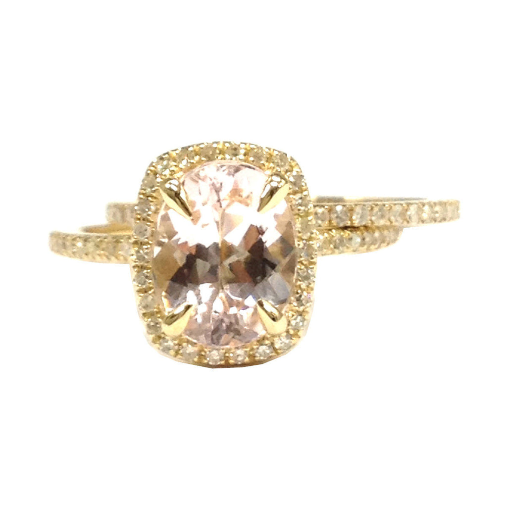 Oval Morganite Engagement Ring Sets Pave Diamond Wedding 14K Yellow Gold 7x9mm Cushion Halo - Lord of Gem Rings - 1