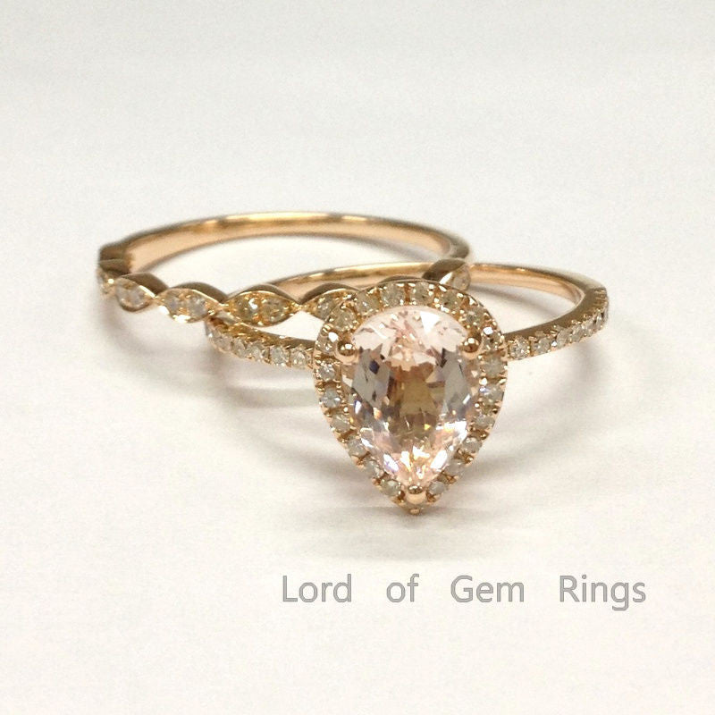 Pear Morganite Engagement Ring Sets Pave Diamond Wedding 18K Rose Gold 6x8mm - Lord of Gem Rings - 1