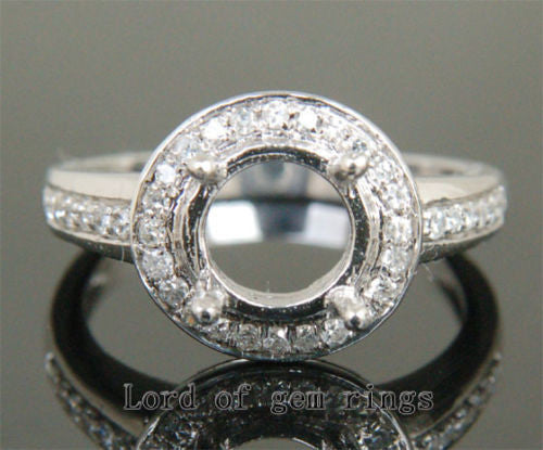 Diamond Engagement Semi Mount Ring 14K White Gold Setting Round 8mm - Lord of Gem Rings - 1
