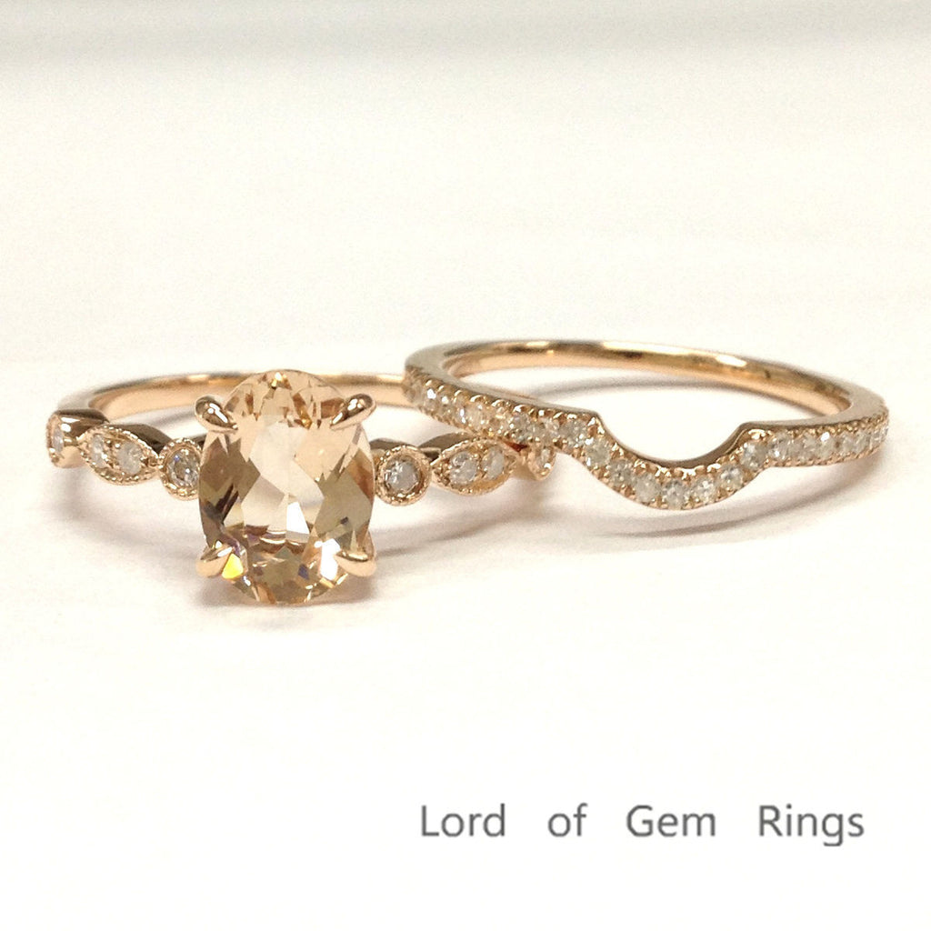 Oval Morganite Engagement Ring Sets Pave Diamond Wedding 14K Rose Gold 6x8mm Curved Band - Lord of Gem Rings - 1