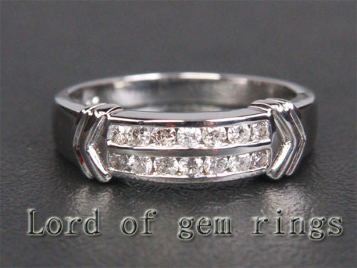 Diamond Wedding Band Anniversary Ring 14K White Gold Channel Set - Lord of Gem Rings - 1