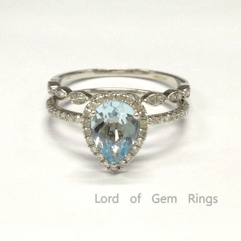 Pear Aquamarine Engagement Ring Sets Pave Diamonds Wedding 18K White Gold 6x8mm Art Deco - Lord of Gem Rings - 1