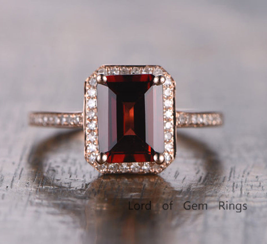 Emerald Cut Garnet Engagement Ring Pave Diamond Wedding 14K Rose Gold 6x8mm - Lord of Gem Rings - 2