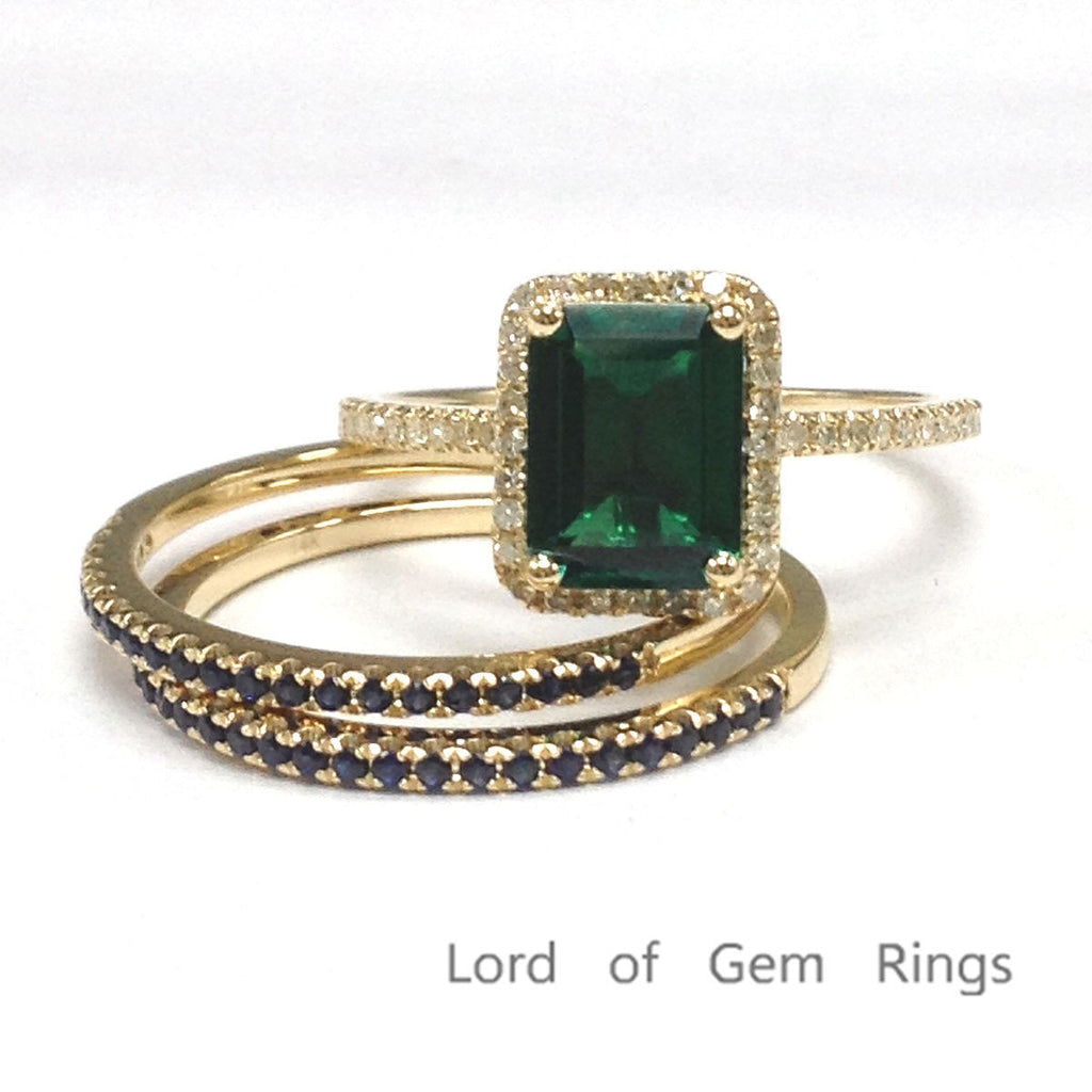 Emerald Shape Emerald Engagement Ring Sets Pave Diamond Sapphire Wedding 14K Yellow Gold 6x8mm - Lord of Gem Rings - 1