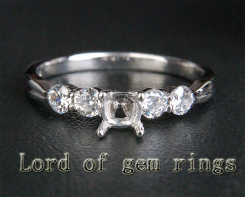 Diamond Engagement Semi Mount Ring 14K White Gold Setting Round 3.5mm - Lord of Gem Rings - 1