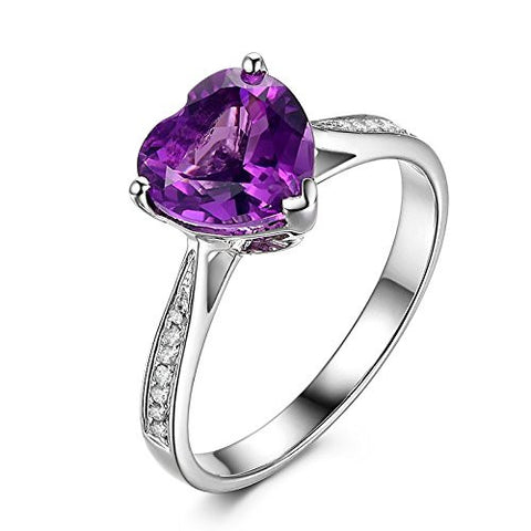 Heart Shape Purple Amethyst Engagement Ring Pave Diamond Wedding 14K White Gold,8mm