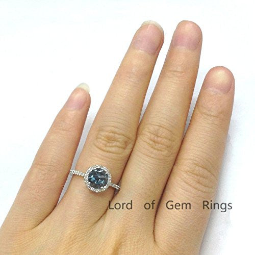 Round London Blue Topaz Engagement Ring Diamond Wedding 14K White Gold,6.5mm,Unique Style - Lord of Gem Rings - 1