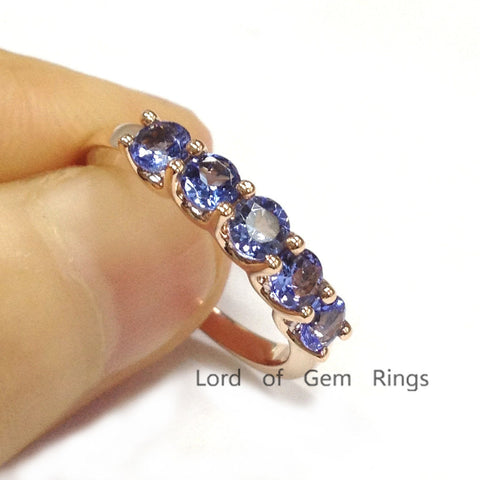 Round Tanzanite Wedding Band Engagement Ring 14K Rose Gold 3.5mm - 5 Stones - Lord of Gem Rings - 1
