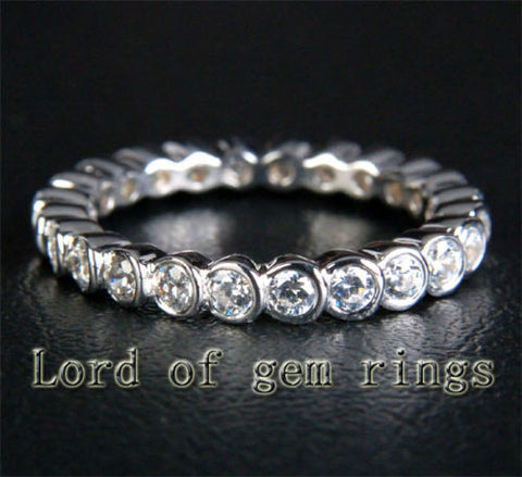 Bezel Natural 1.03ctw Diamonds Wedding Band Eternity Anniversary Ring 14K White Gold - Lord of Gem Rings - 1