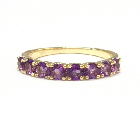 Amethyst Wedding Band Half Eternity Anniversary Ring 14K Yellow Gold 3mm 8 stones - Lord of Gem Rings - 1