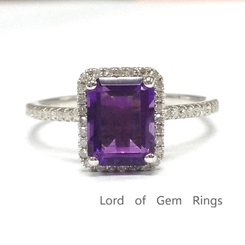 Emerald Cut Purple Amethyst Engagement Ring Pave Diamond Wedding 14k White Gold 6x8mm - Lord of Gem Rings - 1