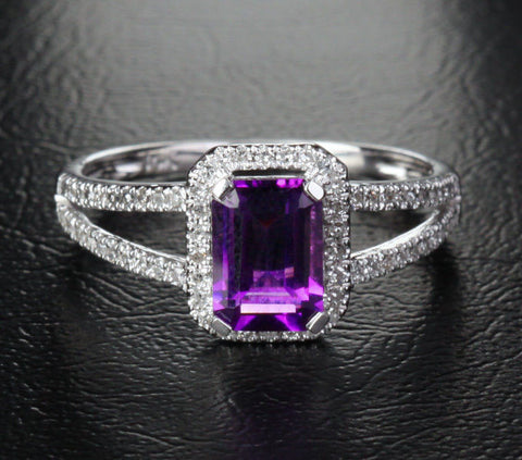 Emerald Cut Purple Amethyst Engagement Ring Pave Diamond Wedding 14k White Gold 5x7mm Split Shank - Lord of Gem Rings - 1