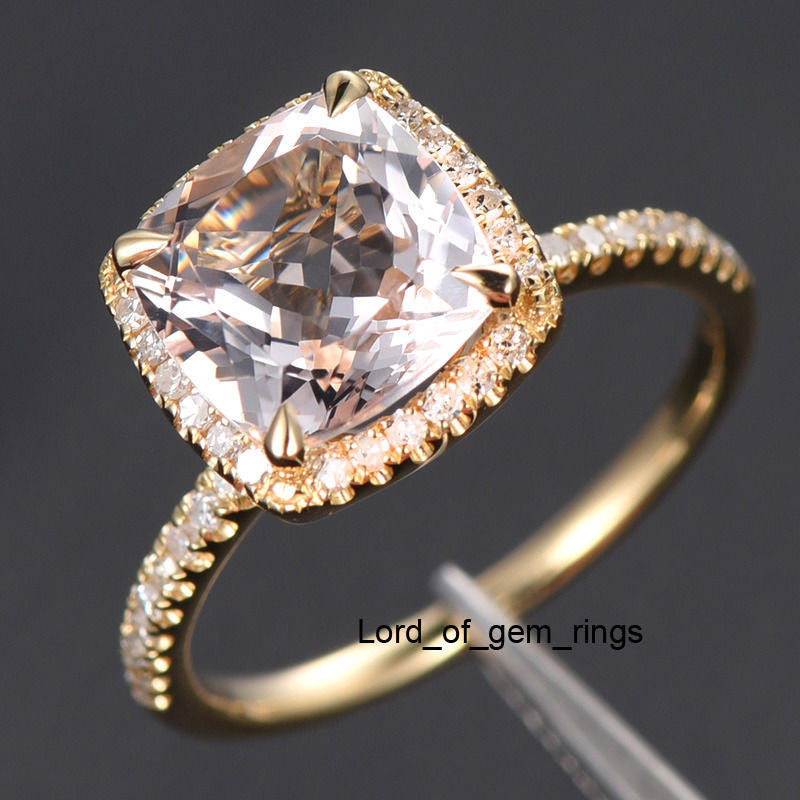 Reserved for asipony Cushion Morganite Engagement Ring Pave Diamond Wedding 14K Yellow Gold - Lord of Gem Rings - 1