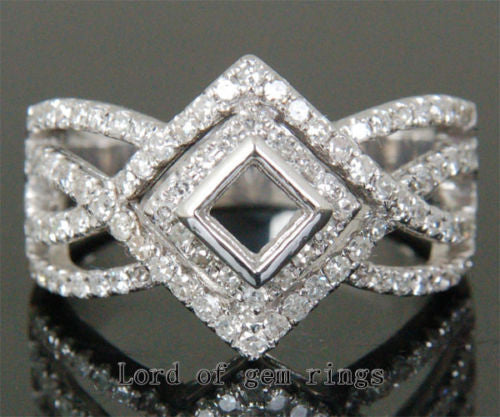 Diamond Engagement Semi Mount Ring 14K White Gold Setting Princess 3.5mm - Lord of Gem Rings - 1