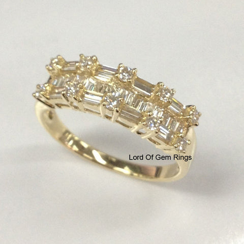 Baguette/Round Diamond Wedding Band Anniversary Ring 14K Yellow Gold 1.62ct - Lord of Gem Rings - 1
