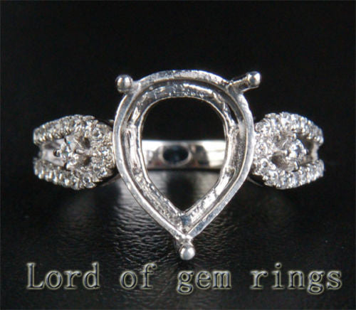 Diamond Engagement Semi Mount Ring 14K White Gold Setting Pear 10x12mm - Lord of Gem Rings - 1