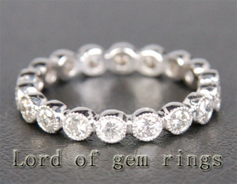Diamond Wedding Band Eternity Anniversary Ring 14K White Gold  Milgrain Bezel - Lord of Gem Rings - 1