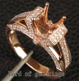Diamond Engagement Semi Mount Ring 14K Rose Gold Setting Round 8-8.5mm - Lord of Gem Rings - 1