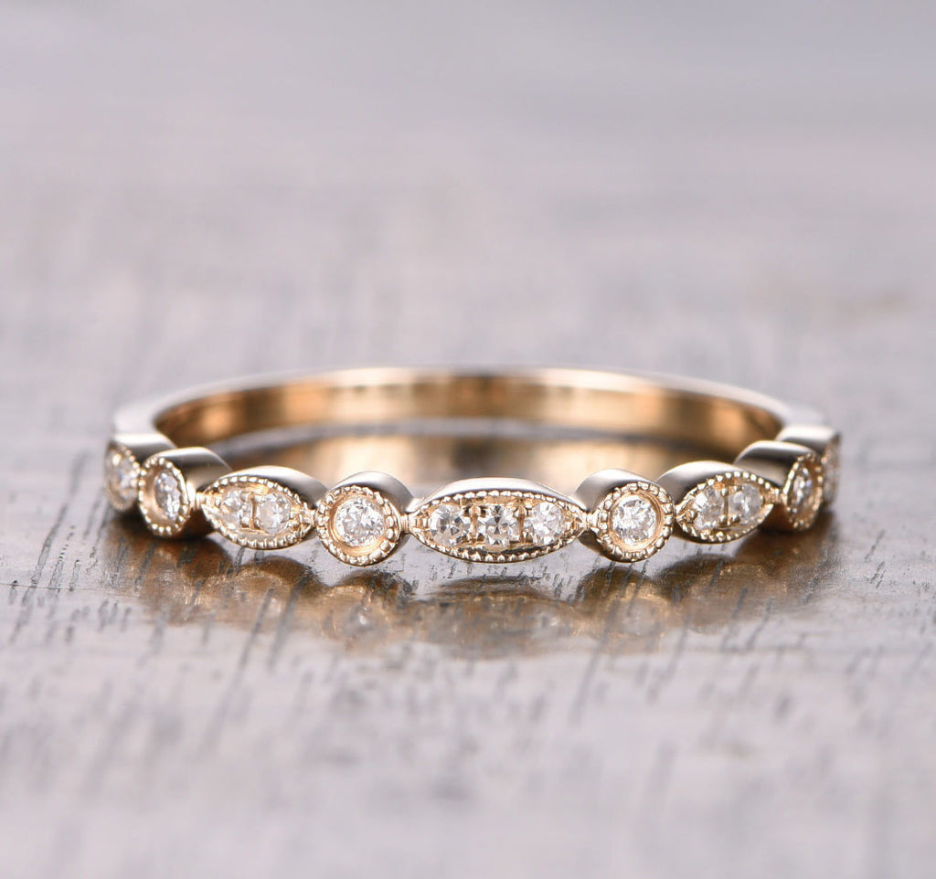 Pave Diamond Wedding Band Half Eternity Anniversary Ring 14K Rose Gold Art Deco Antique - Lord of Gem Rings - 1