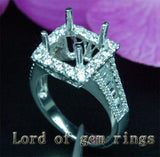 Baguette/Round Diamond Engagement Semi Mount Ring 14K White Gold Setting Princess 9mm - Lord of Gem Rings - 1