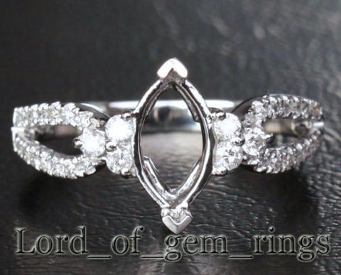 Diamond Engagement Semi Mount Ring 14K White Gold Setting Marquise 4.5x9mm - Lord of Gem Rings - 1