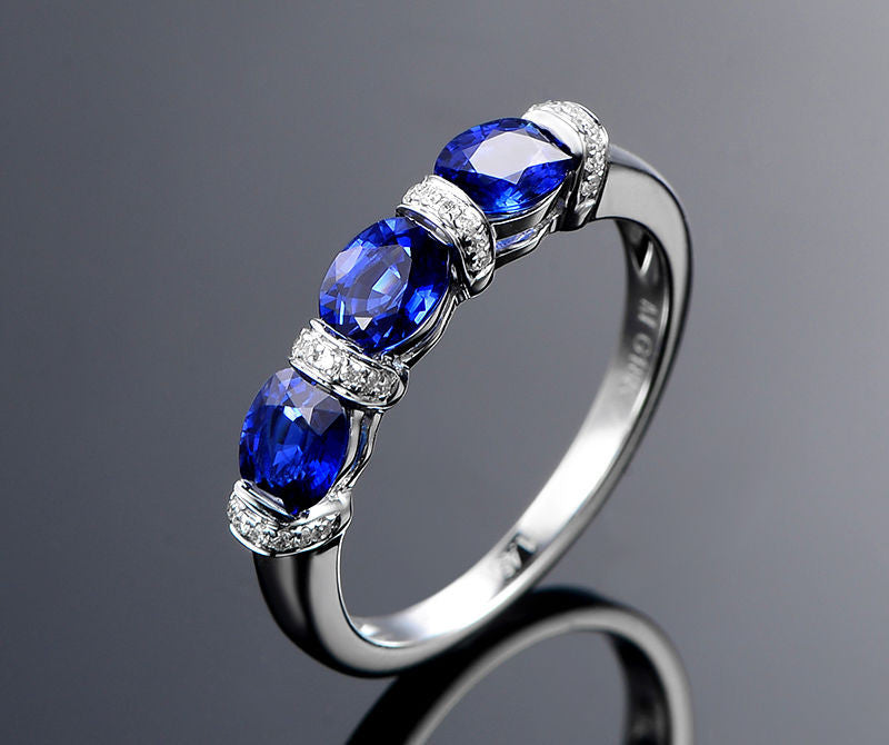 Oval Blue Sapphire Diamond Wedding Band Half Eternity Anniversary Ring 14K White Gold 4x5mm 3 Stones - Lord of Gem Rings - 1