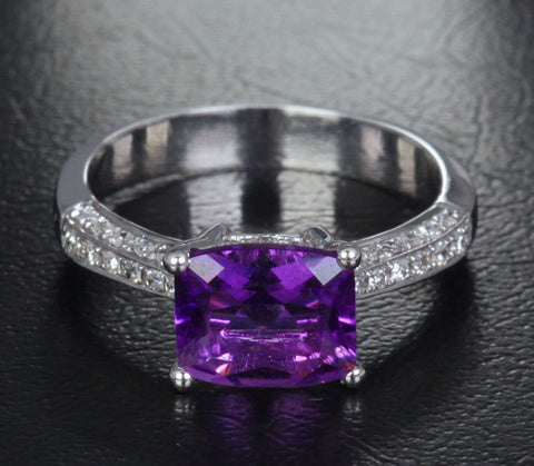 Emerald Cut Dark Amethyst Engagement Ring Pave Diamond Wedding 14K White Gold 7x8.4mm - Lord of Gem Rings - 1