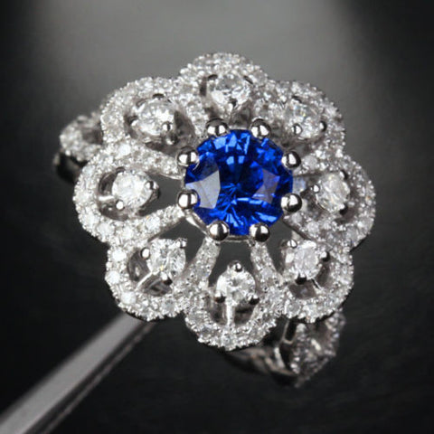 Round Sapphire Engagement Ring  Diamond Wedding 14k White Gold 2.6ct - Lord of Gem Rings - 1