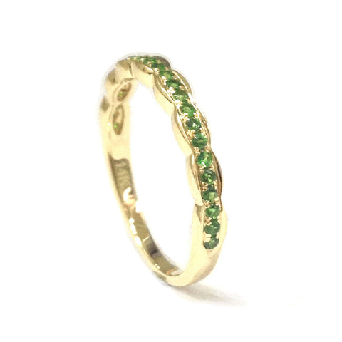 Tsavorite Wedding Band Half Eternity Anniversary Ring 14K Yellow Gold - Lord of Gem Rings - 1
