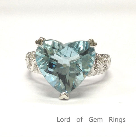 Heart Shaped Aquamarine Engagement Ring Diamond Wedding 14K White Gold Filigree Ring 5.2ctw - Lord of Gem Rings