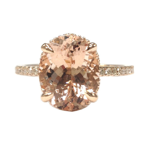 Reserved for DrewMallory-Oval Morganite Engagement Ring in 14K Rose Gold 6x8mm Claw Prong, size 4.5 - Lord of Gem Rings - 2