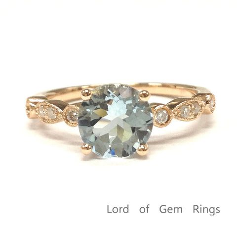Ready to Ship:  Antique Style Round 6.5mm Aquamarine Engagement Ring in 14K Rose Gold-14KR-RAqua-65 - Lord of Gem Rings - 1