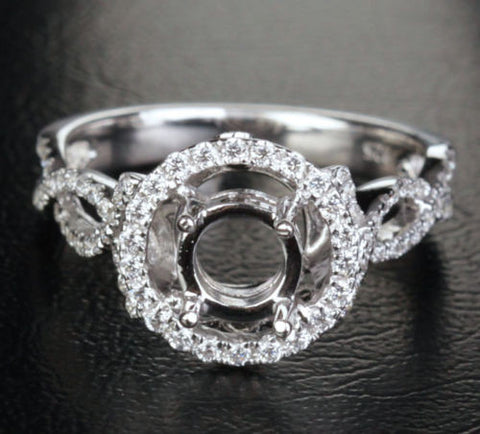Diamond Engagement Semi Mount Ring 14K White Gold Setting Round 6.5mm VS/SI Baguette/Princess Diamonds - Lord of Gem Rings - 1