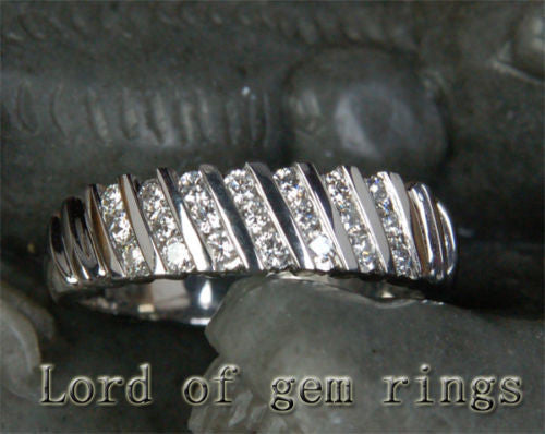 Diamond Wedding Band Half Eternity Anniversary Ring 14K White Gold Channel Set - Lord of Gem Rings - 1